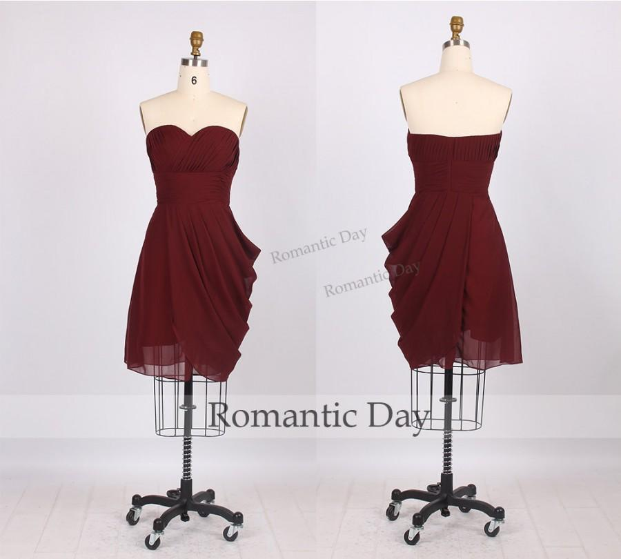 Wedding - 2015 Burgundy sweetheart A-Line Chiffon Short homecoming dress/Cocktail dresses/party dress/short prom dress party/plus size dress 0231