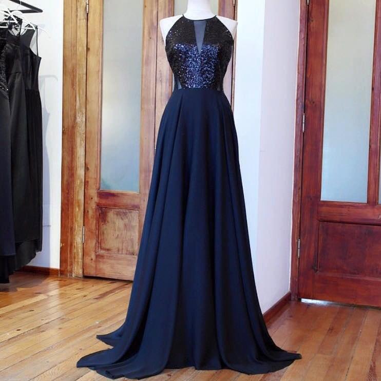 Свадьба - Handmade, Black Dress, Chiffon Dress, Sleeveless Floor Length Dress, Sequin Evening Prom Dress, Bridesmaid Dress, Evening Dress