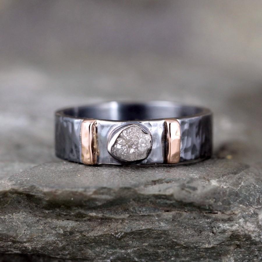 Mens Raw Diamond Ring Black Sterling Silver 14K Rose Gold