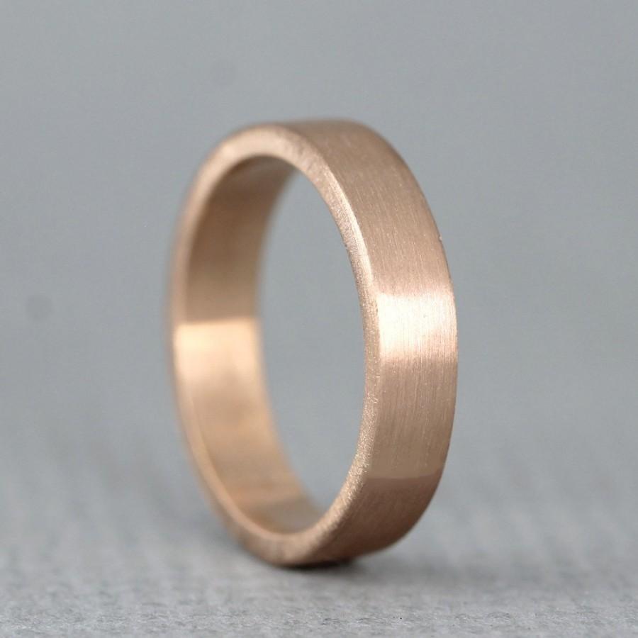 Rose Gold Mens Wedding Band.Rose Gold Men S Wedding Band 14k Rose Pink Gold Matte Finish 4