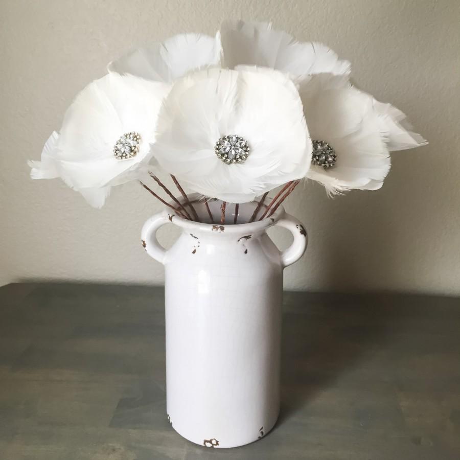 Rhinesstone feather flower stemmed bridal bouquet white rhinesstone feather flower stemmed bridal bouquet white wedding home decor floral arrangement table centerpiece elegant mightylinksfo
