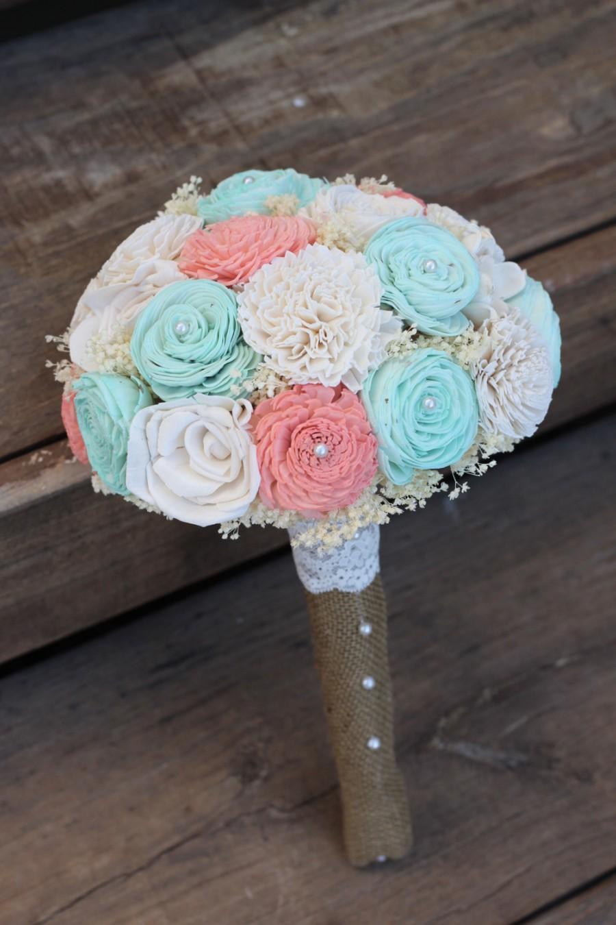 d65958baf62bb Coral And Mint Bouquet, Sola Bouquet, Wedding Bouquet, Bridal ...