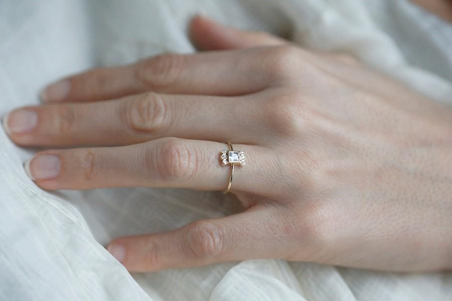 Wedding - Princess Diamond Ring, Diamond Engagement Ring With Bezel  Diamonds, 0,25 Carat Diamond Ring, 18k Solid Gold