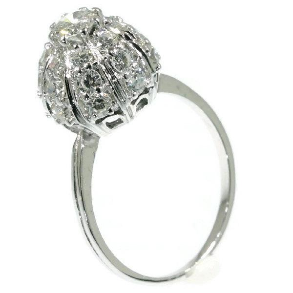 Mariage - Cluster diamond engagement ring white gold 18k central brilliant diamond 0.35ct Vintage engagement ring circa 1950
