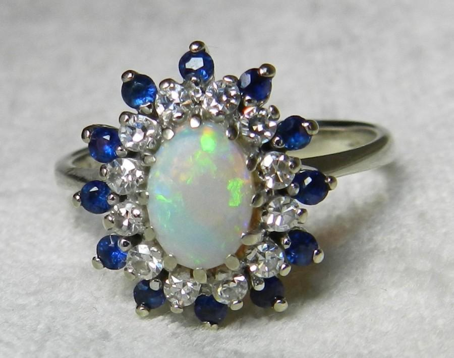 opal engagement ring 14k opal diamond sapphire ring art deco black opal engagement ring 1920s blue sapphire diamond halo october birthday - Black Opal Wedding Rings