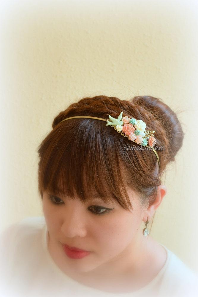Mariage - Mint Coral Pink Bridal Headband Tiara Floral Headpiece Flower Hairband Woodland Wedding Grecian Romantic Custom Bohemian Fascinator H1 WR