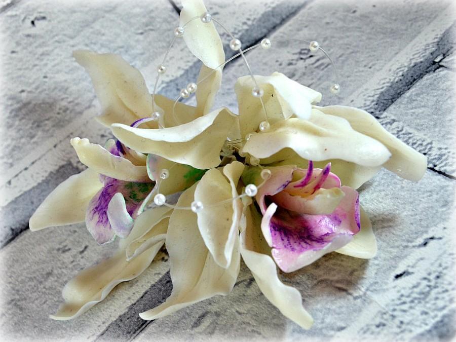 Свадьба - Bridal flower fascinator, Beach wedding hair piece, Orchid hair clip floral headpiece, Romantic wedding accessories garden bohemian bride