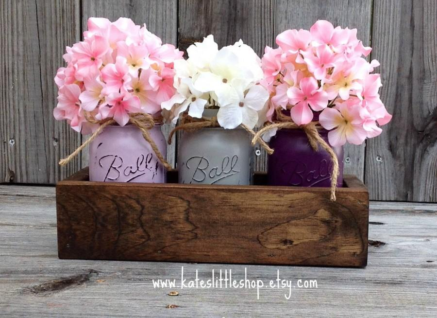Rustic planter box with 3 painted mason jars mason jars rustic rustic planter box with 3 painted mason jars mason jars rustic home decor vintage purple grey cream peach table centerpiece junglespirit Choice Image