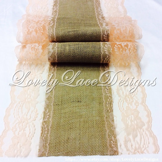 Свадьба - PEACH WEDDINGS /Burlap Lace Table Runner with Peach Lace,3ft-10ft long x 13in Wide,Wedding Decor,Wedding Ideas/tabletop decor/wedding trends