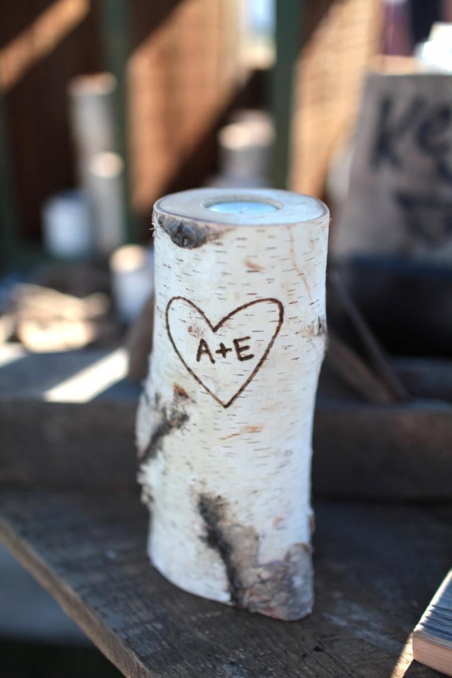 Mariage - Personalized Birch Candle Holders Heart and Initials In Wood Handmade Birch Decoration Tealight Candle Winter Decor Christmas Decor