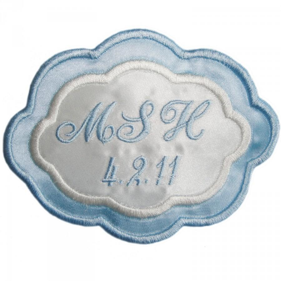 Mariage - Arielle Embroidered Personalized Wedding Gown Label in Bridal Blue and Ivory