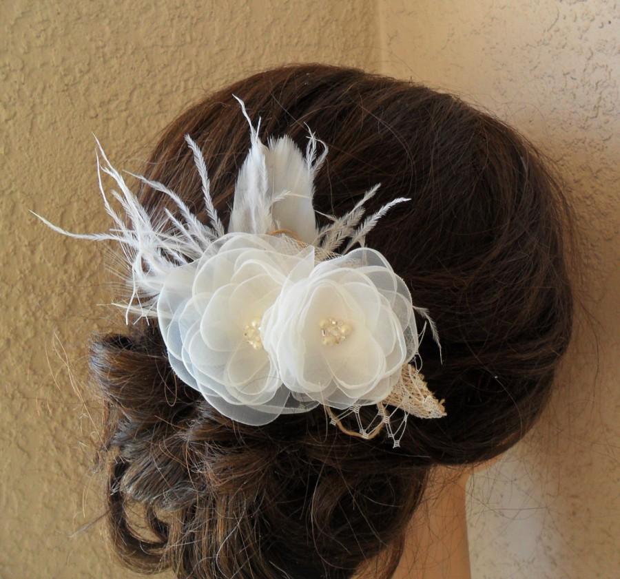 Mariage - Bridal hair accessory, rustic hair piece, wedding hair comb,woodland hair flower, wedding hair accessory,vintage style hairpiece,shabby chic