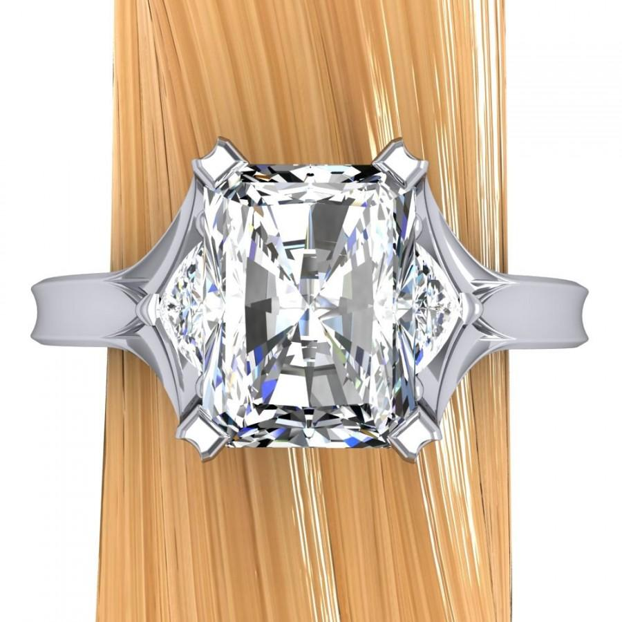 Свадьба - Platinum Diamond Engagement Ring, Radiant Cut 2 Carat, 3 Stone Ring with Architectural Setting - Free Gift Wrapping