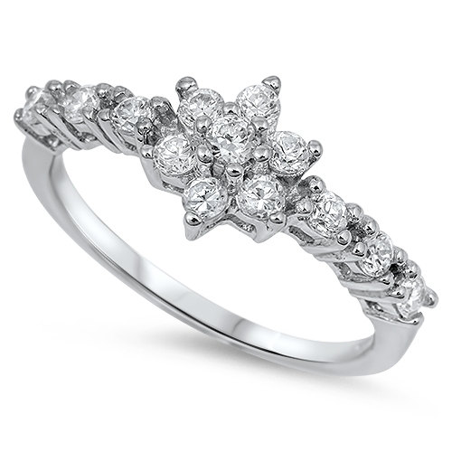 Свадьба - New Fashion Solid 95 Sterling Silver 1.20 Carat Round Simulated Diamond Flower Cluster CZ Accent Dazzling Wedding Engagement Ring