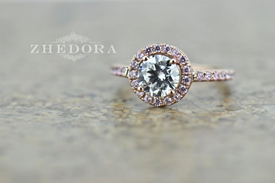 Mariage - 2.30 CT Engagement Ring Round Cut Halo Solid 14k Rose Gold Bridal Bridal, Halo Ring, Anniversary Ring, Proposal Ring, Zhedora
