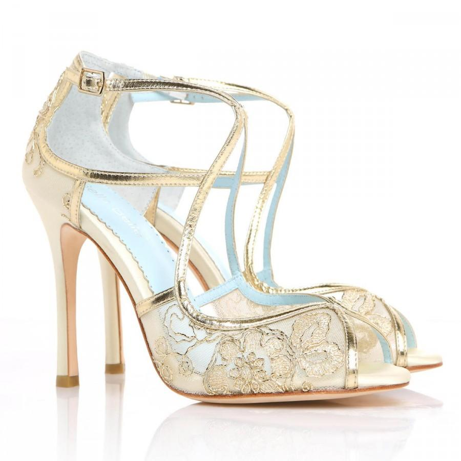 wedding shoes gold embroidered lace and ivory silk criss