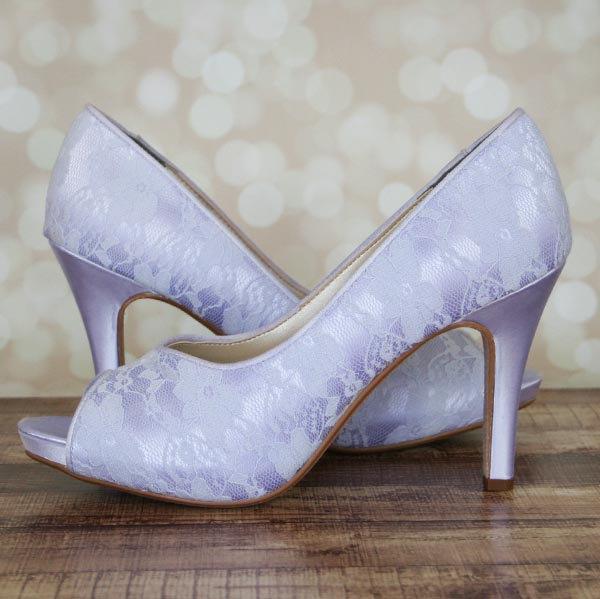 Hochzeit - Lilac Wedding Shoes / Lilac Lace Shoes / Peeptoe Bridal Heels / Lace Wedding Shoes / Bride on Budget Wedding Shoes