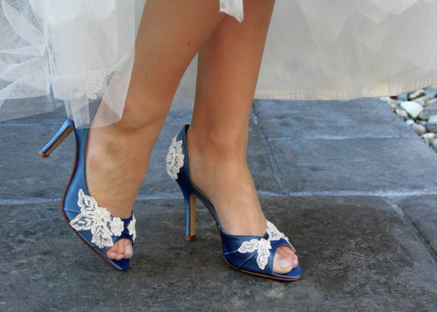 Mariage - Wedding shoes peep toe low heel and high heel bridal shoes embellished with floral ivory French lace, crystal sequins, beads, and pearls