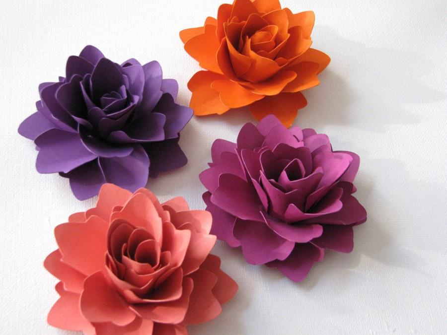 Paper flowers for gifts weddings or scrapbooking set of 6 any paper flowers for gifts weddings or scrapbooking set of 6 any colour mightylinksfo