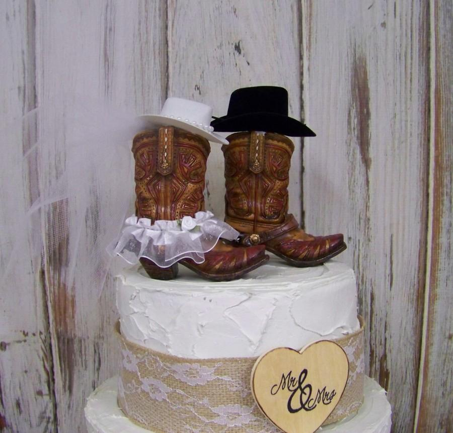 Western Wedding Cake Ideas: Rustic Cake Topper-His And Her Western Cowboy Boots