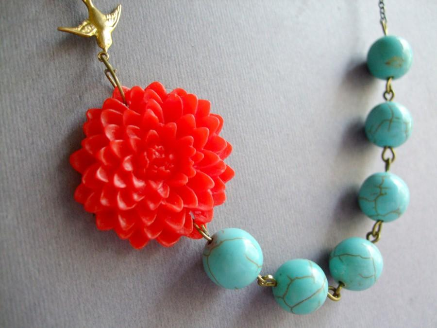 Mariage - Turquoise Necklace,Red Flower Necklace,Floral Necklace,Flower Necklace,Turquoise Jewelry,Statement Necklace,Bridesmaid Necklace,Wedding Set
