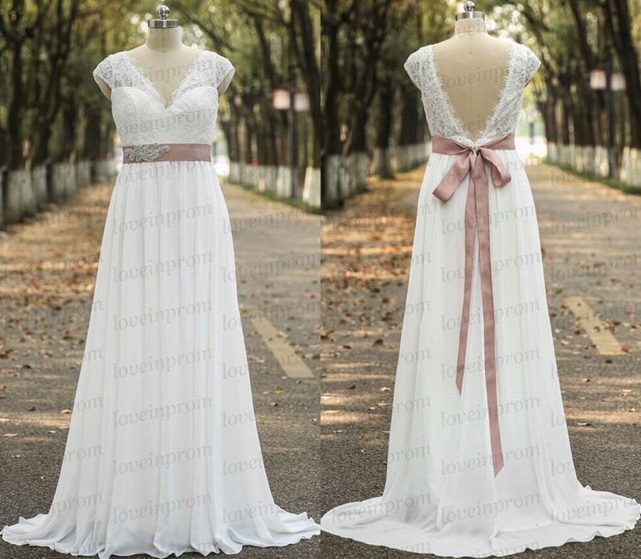 Свадьба - Vintage wedding dress,white/ivory long cap sleeve wedding dress,handmade chiffon long bridal gowns