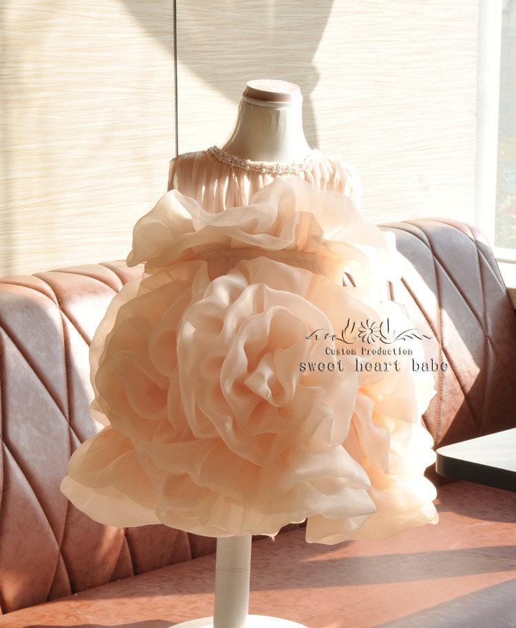 Свадьба - Organza ruffles flower Girl Dress - Beading flower girl dress - Baby Dress-birthday party dress,girl dress.junior bridesmaid dress,