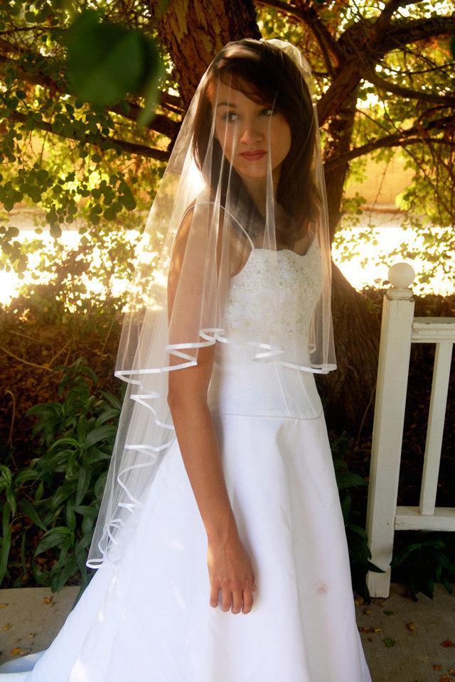 Mariage - Waltz length drop style wedding veil with Satin ribbon edge and blusher - Simple Wedding Veil - Circle Cut Veil - Kuala Lumpur