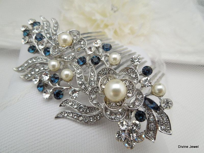 Mariage - Bridal Rhinestone Hair Comb,Wedding Rhinestone Hair Comb,Rose Rhinestone Hair Comb,Swarovski Crystals,Something Blue Hair Comb,blue,ROSE