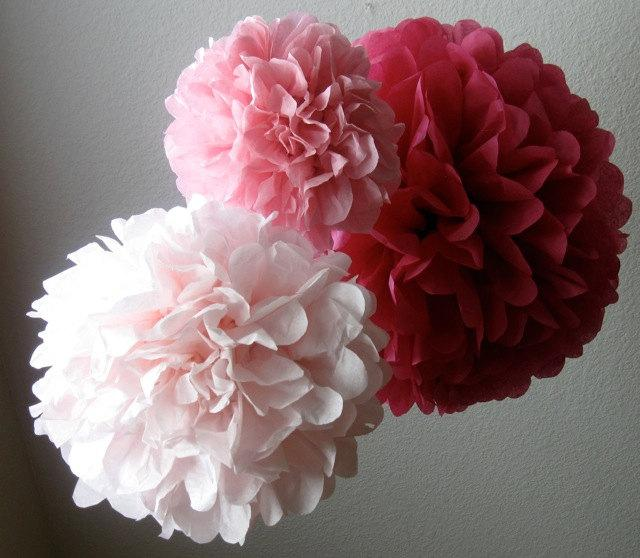Mariage - 3 Paper Pom Poms - Your Color Choice- SALE