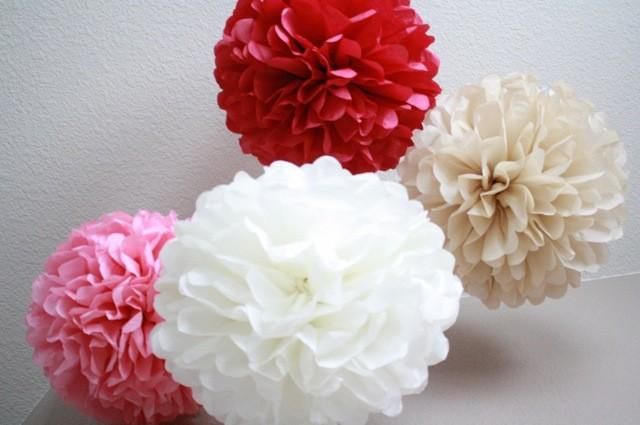 Mariage - Tissue Paper Pom Pom - set of 6 Poms- Your Color Choice