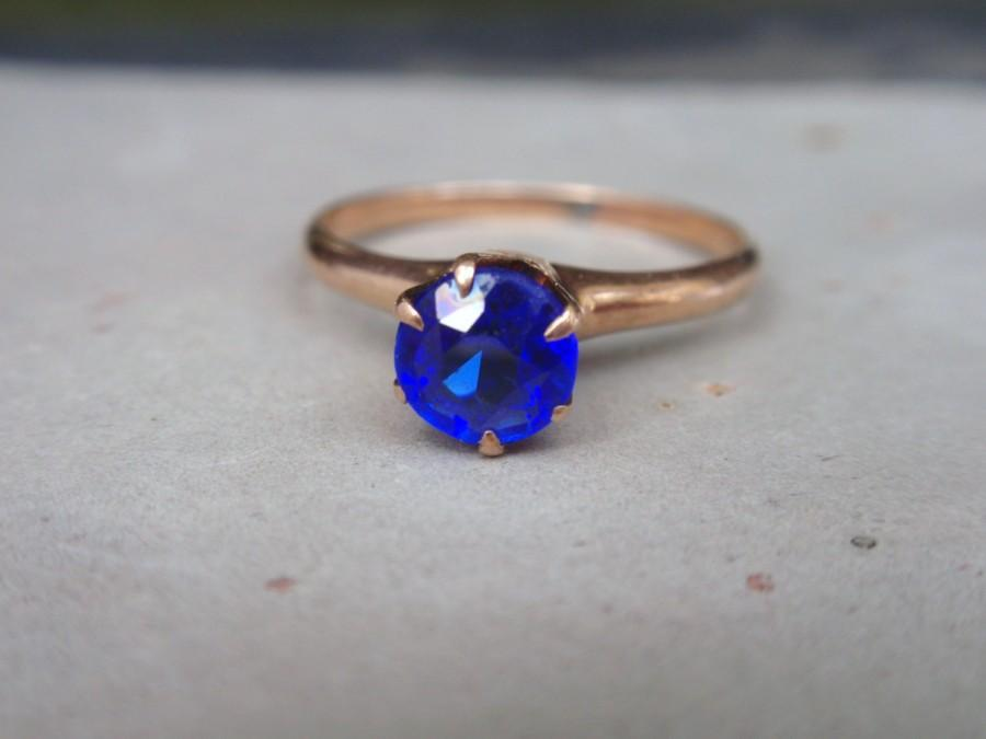 Mariage - Antique Iolite Ostby Barton 10k Ring Victorian ladies solitaire enagagement round cornflower sapphire blue 10% OFF coupon in item detail