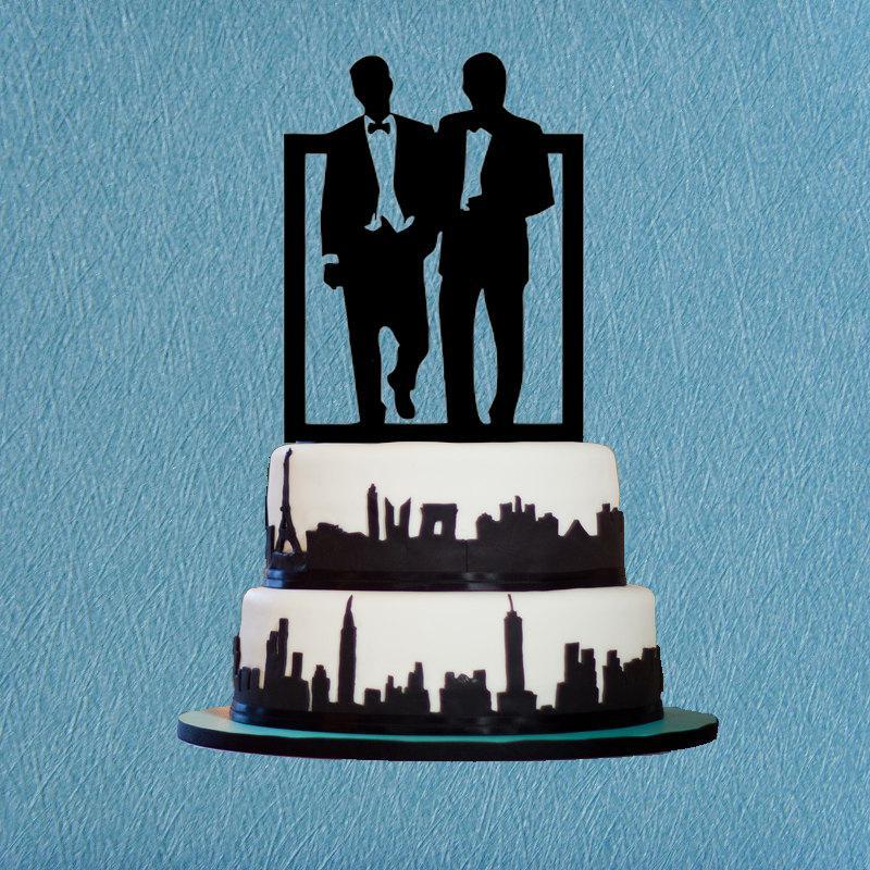 Mariage - Gay Cake Topper,Same Sex Cake Topper,Silhouette Cake Topper,Unique Cake Topper For Men Gift,Modern Wedding Cake Topper