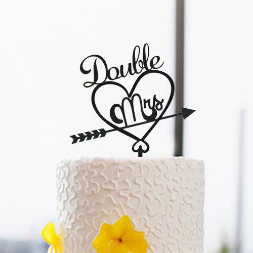 Wedding - Same Sex Cake Topper-Wedding Cake Topper-Lesbian Cake Topper-Double Mrs Cake Topper-Love Arrow Cake Topper For Wedding Cake Decoration