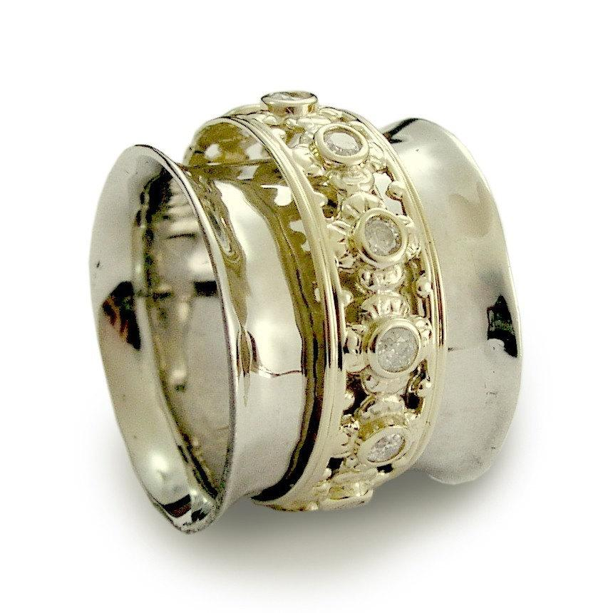 Wide Wedding Band 14k White Gold And Diamonds Wide Eternity Ring Yellow Gold Spinner