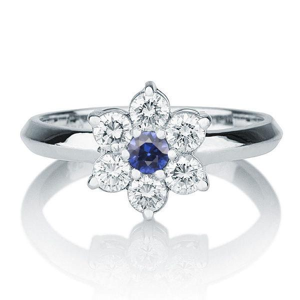 Flower Shape Sapphire Ring 14K White Gold Ring 055 TCW Blue Sapphire Ring Vintage Diamond