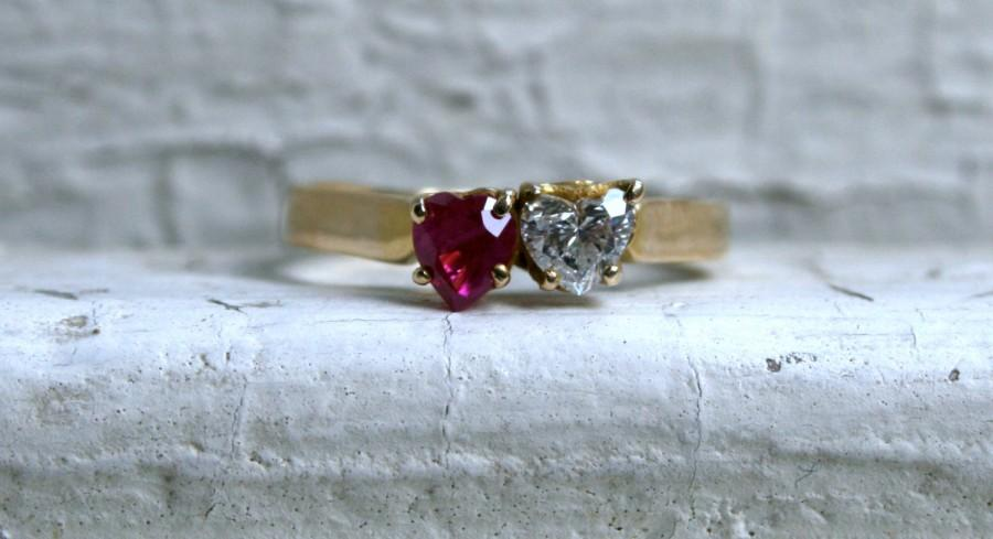 Vintage 14K Yellow Gold Double Heart Diamond And Ruby Engagement