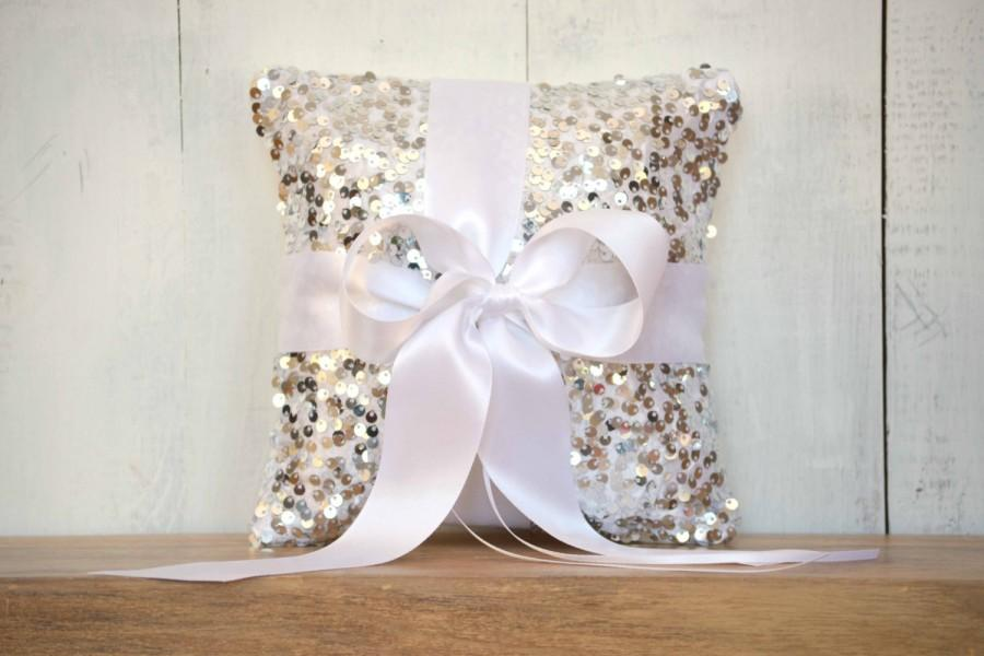 Wedding - Ring Bearer Pillow - Silver Sequin and White Satin Bow