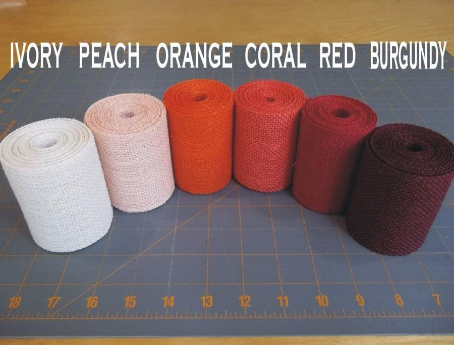 3 Inch Burlap Ribbon Peach Orange Coral Red Burgundy