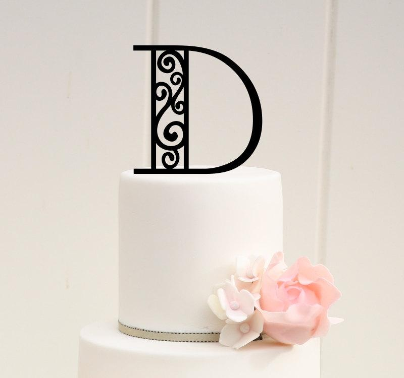Свадьба - Monogram Wedding Cake Topper Scroll Design 6 Inch Personalized with YOUR Initial