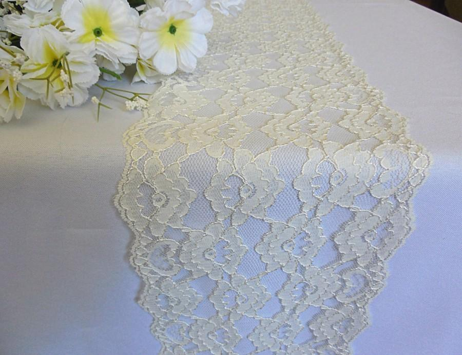 Свадьба - Ivory lace table runner wedding lace runner ivory italian lace wedding table decor party bridal shower