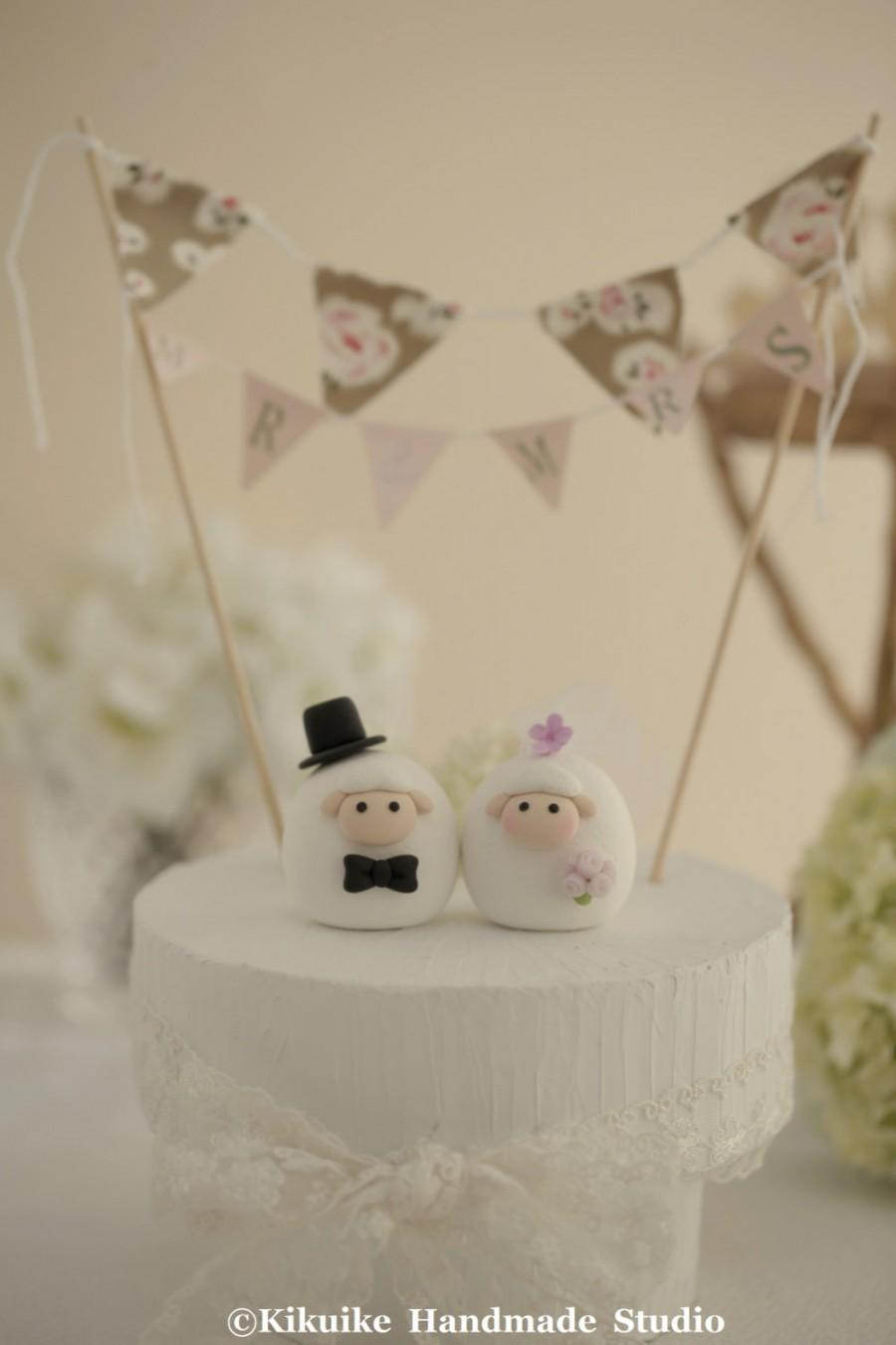 Mariage - Sheep wedding cake topper