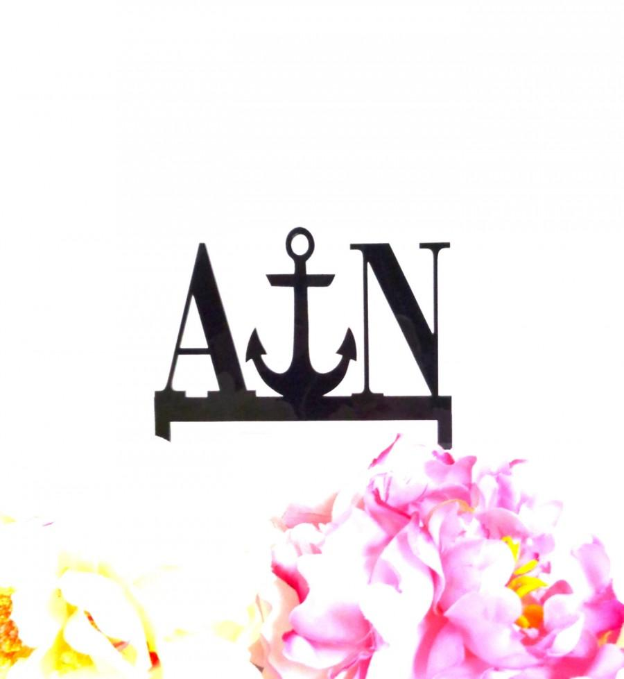 Wedding - ANCHOR Monogram Wedding Cake Topper Personalized with YOUR Initials Acrylic Beach Themed Cake Topper Nautical Cake Topper Anchor Cake Topper