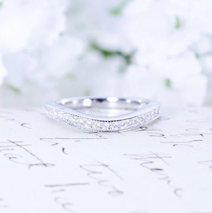Mariage - Curved Wedding Band - Art Deco Band - Sterling Silver Ring - Half Eternity Ring - Antique Style - Vintage Style Band