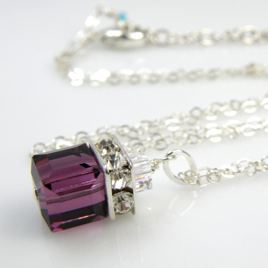 Mariage - Purple Necklace, Amethyst Swarovski Cube, Plum Crystal Pendant, Violet, Sterling Silver, Bridesmaid Wedding Handmade Jewelry, Ready To Ship