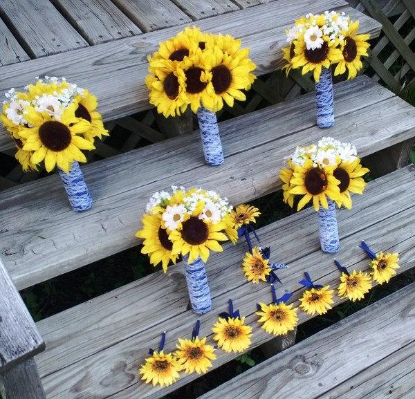 Mariage - 14 piece Sunflower Bouquet Wedding Flower Set, Bridal Bouquet, Sunflower Daisy Bouquet Lace Bouquet Sunflower Wedding Bouquet Rustic wedding