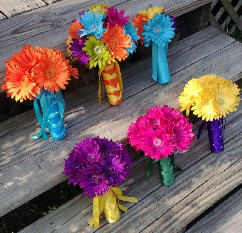 15 Piece Daisy Wedding Bouquet Set Purple Malibu Blue Hot Pink Orange Yellow
