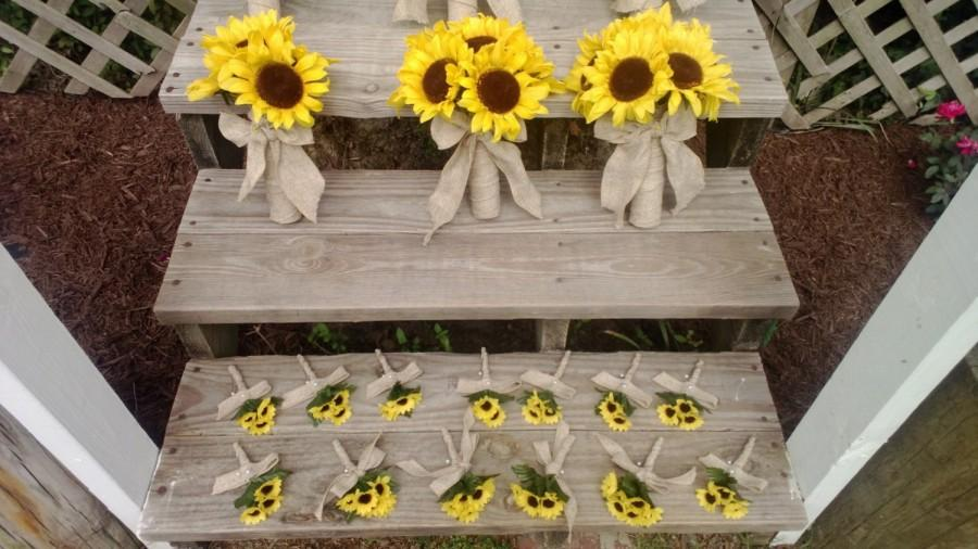 Sunflower Bouquet 10 Piece Wedding Flower Set, Bridal Bouquet ...