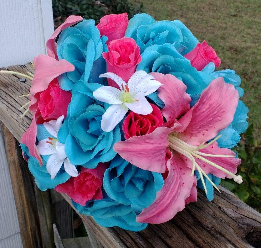 Свадьба - Malibu Blue Hot Pink Rose Coral Lily Wedding Bouquet, Coral Turquoise Bouquet, Malibu Blue Bouquet, Coral Pink Malibu Blue Wedding