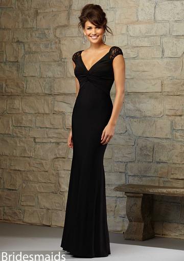Wedding - 2015 Short Sleeves Black Floor Length V-neck Ruched Chiffon Sheath